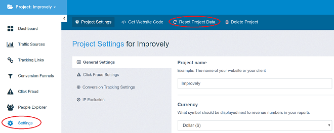 improvely reset project data